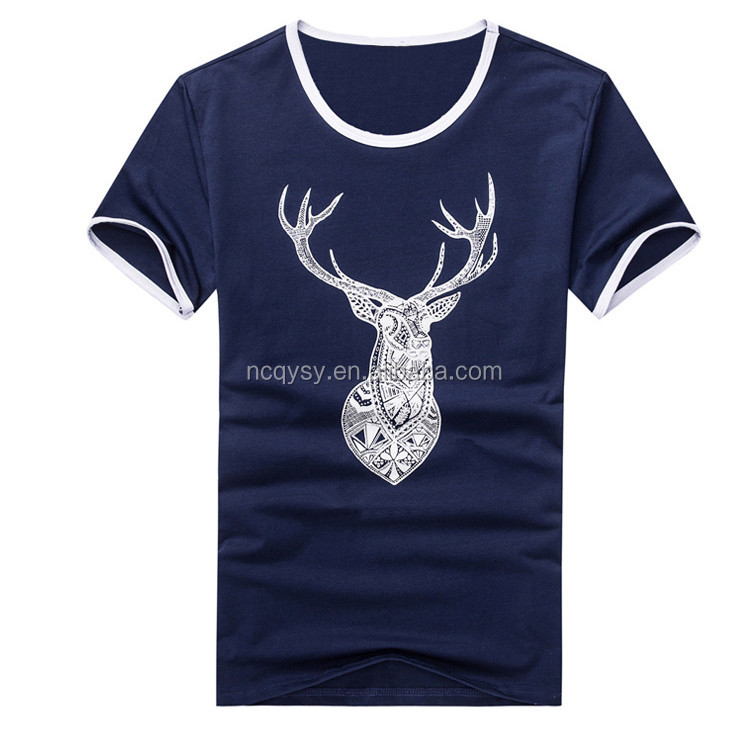 Blue and white 95 cotton 5 spandex t shirts china factory T shirt printing china