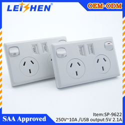 Australia Surge Absorber AC Wall Charger Electrical Socket Dual USB 5V/2.1A Outlet Plate with SAA approval