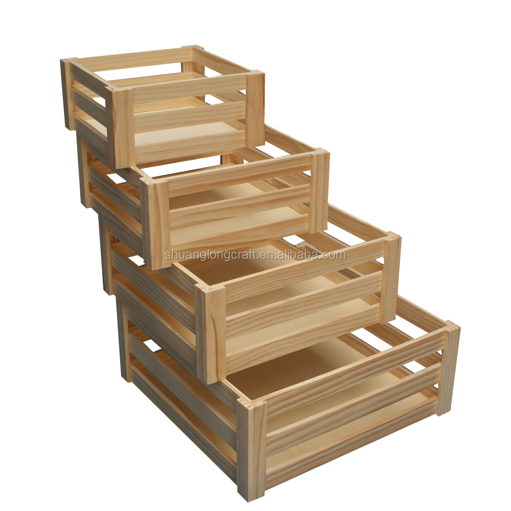 Handmade Wooden Crate For Fruit And Vegetables Solid