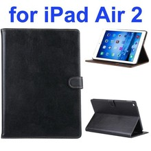 New Arrival Flip Smart Genuine Leather Case for iPad Air 2 with Photo Slots