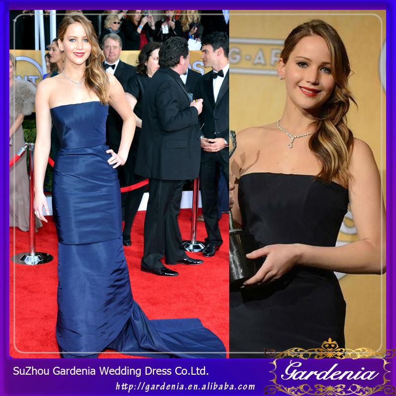 2014 jennifer lawrence vaina vestidos strapless piso longitud de color azul marino de la celebridad de tafetán vestidos largos