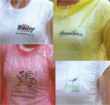 Disposable pe transparent clear printed poncho for promotion/Promotional disposable emergency poncho in PMS