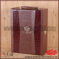 High class pu leather wine glass gift box/Handle carrying wine packaing case with tool tray