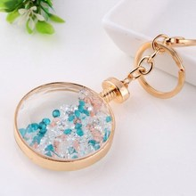 2015 fashional glass key chain with swarovski crystal