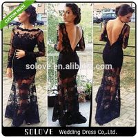 V Back Black mother of the bride dress with jacket From China