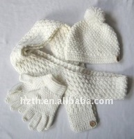 Fashion Knitted Pom-pom Hat Gloves and Scarf Set