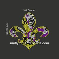 Easy to press on t-shirts fleur de lis rhinestone transfer