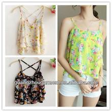 verano dama con estilo de vacaciones camisetas tirantes mangas espalda correa floral mujeres blusa gasa impresa tapas