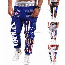 Men's US Flag Printed Loose Harem Pants Drawstring Sport Trousers Sweatpants