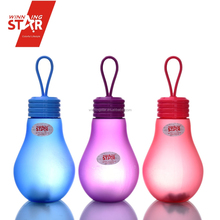 winningstar plastic creative bulb shape portable water bottle