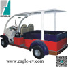 Electric utility vehicles, electric utility car with long cargo bed and roof
