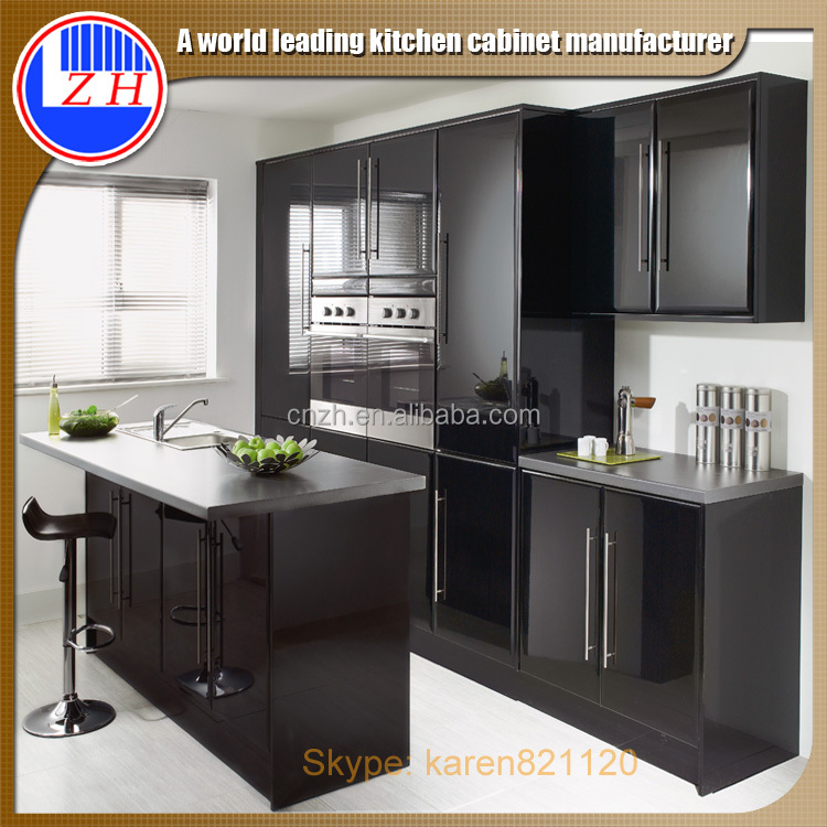 2015 Direct Factory Made Glossy Finish Black Kitchen