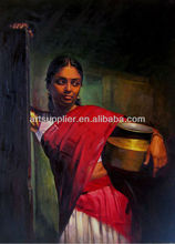 Handpainted Beautiful Girl Portrait Indian Rural Paintings oils on canvas