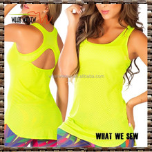 neon yellow womens yoga sports tank tops mesh yoga tops tight fit cheap