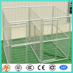 temporary 15' x 5' x 6'expanded metal dog kennels with fight divider