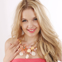 Flower Color Big Jelly Resin Exaggerated Lady's Classic Necklace