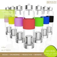 Heat Resistent Transparent Glass Tea Bottle With Tea Strainer
