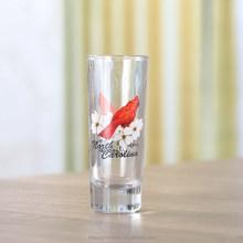 Clear glass espresso cups,bird and flower custom glass cups