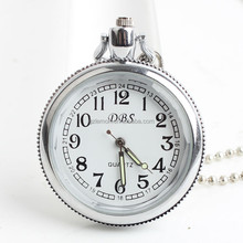 Open Face Elegent White Lady Pocket Watch Jade Crystal Quartz Necklace