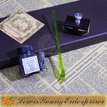 Calligraphy glass pen with fountain nib ,glass dip pen with ink