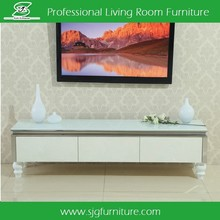 Luxury Long Wooden TV Stand With Marble Top