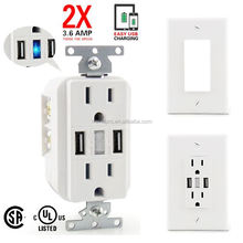 Top selling double usa power wall socket for iPhone plugs