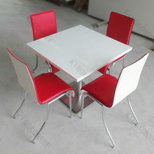 man made round extendable solid surface dining table with logo