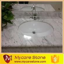 Wholesale Carrara white marble commercial bathroom sink countertop