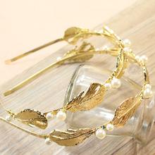 2015 Hot Sale Fashion Jewelry Gold Meatl Pearl Crystal Headband Bridal