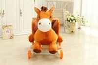 60*33*48cm Adorable ICTI and Sedex audited new design plush rocking brown horse animal chair with wooden base&music
