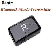 Wireless Bluetooth music transmitter connects directly to audio play device with 3.5mm audio cable