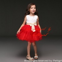 Newest Baby Girl Dresses With Flower Beading Tulle Girls Party Dresses Gorgeous Children Clothing With Big Bow GD31025-1