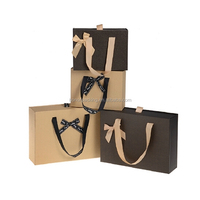 Custom handmade high end brown light paper promotional packaging gift bag with bow tie decoration wholesale made in China