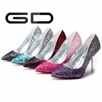 hot sale high quality fashion glitter cloth decoration high heel women shoes