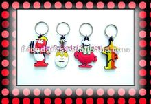 2013 hot selling customized 3D soft pvc/rubber cute keyring souvenirs