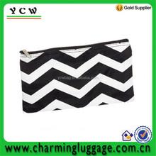 """11"""" Zip basics cosmetic bag Makeup Pouch (Black & White Chevron)"""