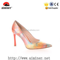 Leather women high Heel shoes rainbow charming dress shoes