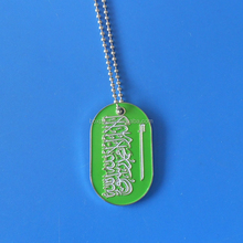 Flags of the World Dog Tag Necklace Collection Saudi Arabia with Ball Chain