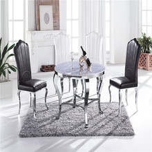 Dining room furniture modern elegant stainless steel round marble top dinner table and chairs(CT-804# CY-827-1)