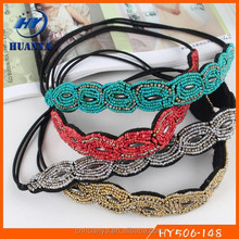 Latest style fancy elastic handmade beaded fashion indian accessories headband