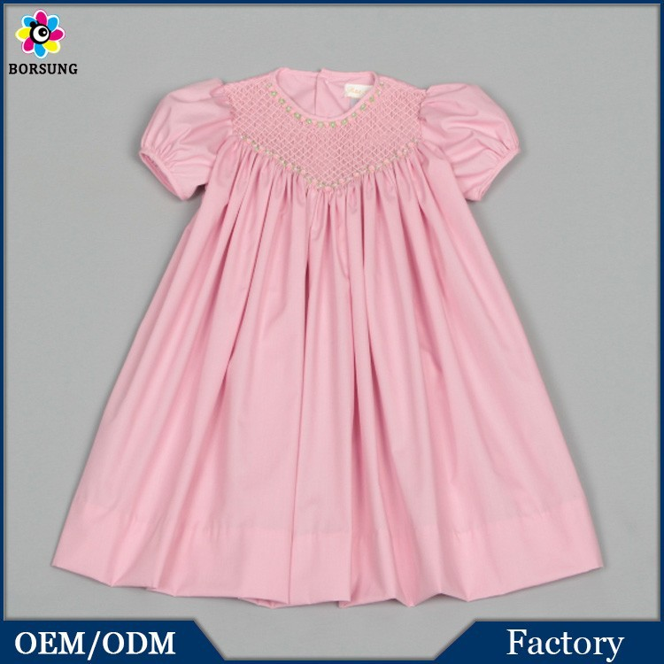 Baby Cotton Frocks Designs Pink Puff Sleeve Fashion Girls Summer Smocked Dress