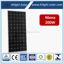 TUV IEC CE CEC ISO High efficiency 24V 200Wp Mono pv solar panel