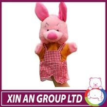 high quality decorative plush pig hand puppet toys