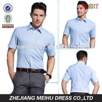New style 2015 men striped short sleeve casual dress shirt , men garment