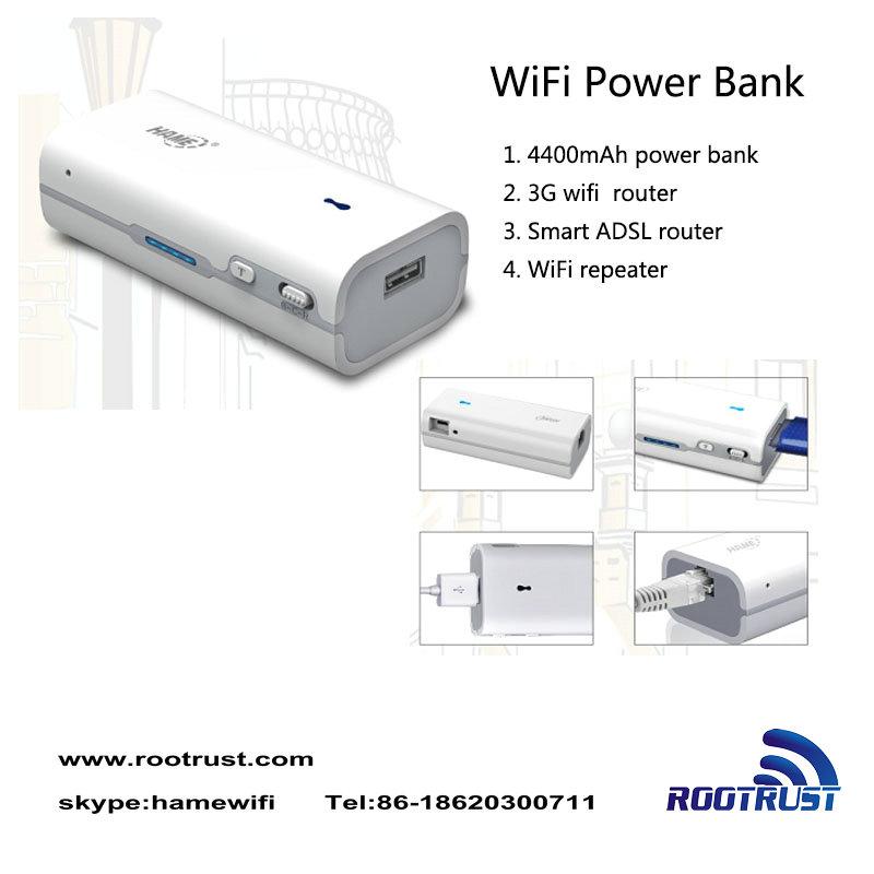 ポータブル電源4400麻雀bank+スマートポータブル無線lanリピータワイヤレスnルーターのゲートウェイ