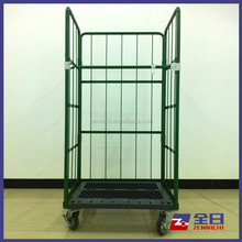 3 sides nestable folding wire storage cage cart