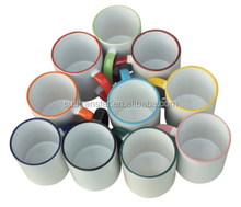 Factory hot selling multicolor Sublimation Rim Handle Mugs