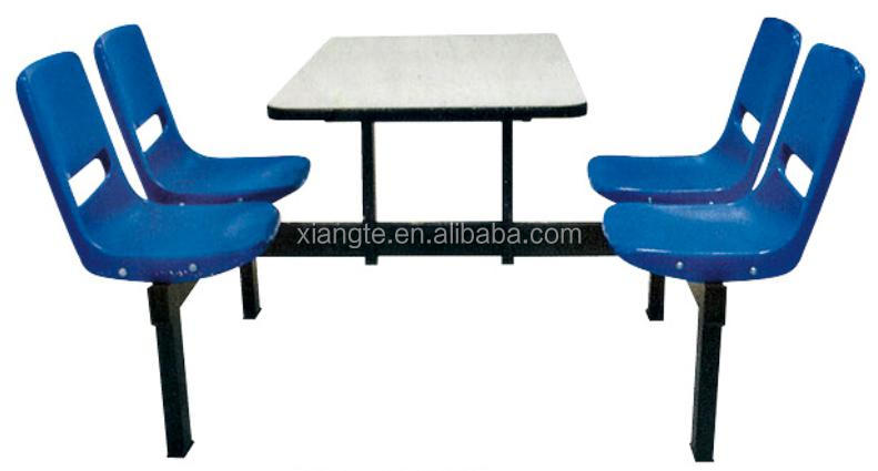 durable 4 people metal and plastic dining table,chair with back
