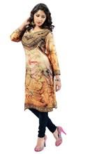 Triveni Attractive Beige Colored Crape Digital Printed Kurti 1172 XS