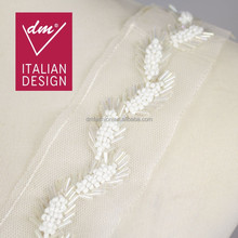 Sample design white beads handmade rhinestone mesh leaf lace trim